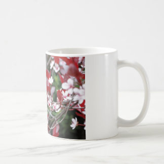 Pink flowering tree with dark red leaves coffee mug