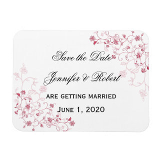 Pink Flowering Vines Save the Date Magnet