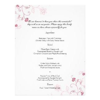 Pink Flowering Vines Wedding Menu
