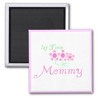 Pink Flowers 1st Time Mommy tshirts and Gifts 2 Inch Square Magnet