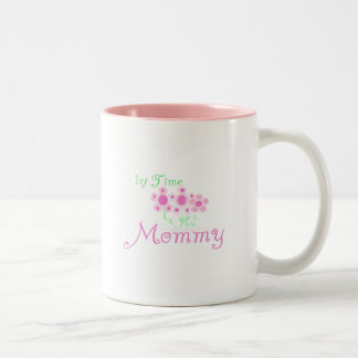 Pink Flowers 1st Time Mommy tshirts and Gifts Two-Tone Coffee Mug