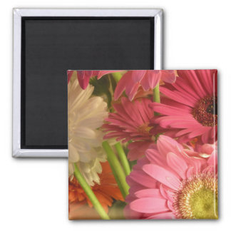 Pink flowers 2 inch square magnet