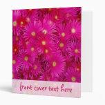 Pink flowers 3 ring binder