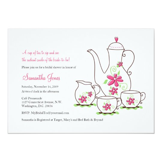 pink flowers 5x7 tea party invitations. Black Bedroom Furniture Sets. Home Design Ideas