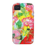 pink flowers abstract painting iphone case iPhone 4 covers