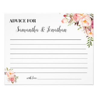Pink Flowers  Advice for Happy Couple Shower Card