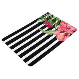 Pink Flowers And Black And White Stripes