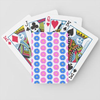 Pink Flowers and Blue Flowers. Pattern. Bicycle Playing Cards