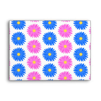 Pink Flowers and Blue Flowers. Pattern. Envelopes