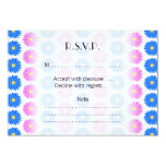 """Pink Flowers and Blue Flowers. Pattern. 3.5"""" X 5"""" Invitation Card"""