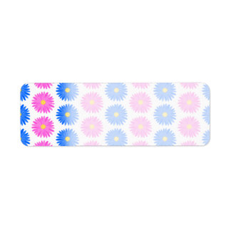 Pink Flowers and Blue Flowers. Pattern. Return Address Label