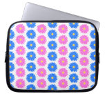 Pink Flowers and Blue Flowers. Pattern. Laptop Computer Sleeve
