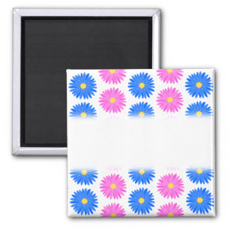 Pink Flowers and Blue Flowers Pattern Refrigerator Magnets