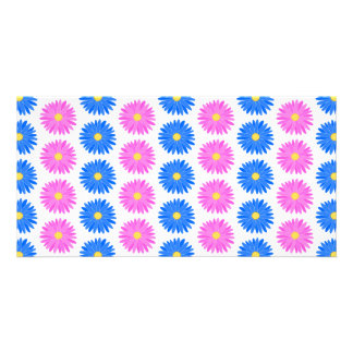 Pink Flowers and Blue Flowers. Pattern. Photo Cards
