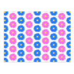 Pink Flowers and Blue Flowers. Pattern. Postcard
