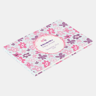 Pink Flowers and Blue Hearts Baby Shower Guest Book