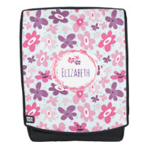 Pink Flowers and Blue Hearts Cute Personalized Backpack