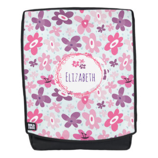 Boldface - Pink Flowers and Blue Hearts Cute Personalized Backpack