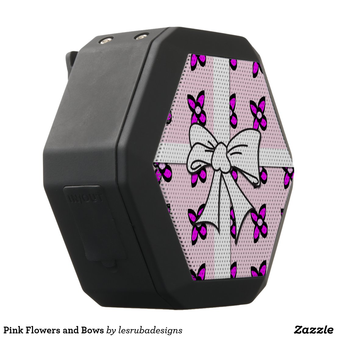 Pink Flowers and Bows Black Bluetooth Speaker