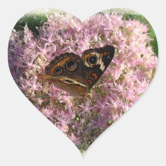 Pink Flowers and Buckeye Butterfly Heart Shaped St Heart Sticker
