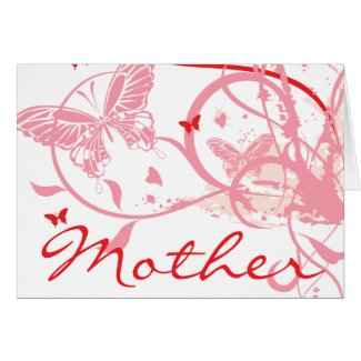 Pink Flowers and Butterflies Mother's Day Card