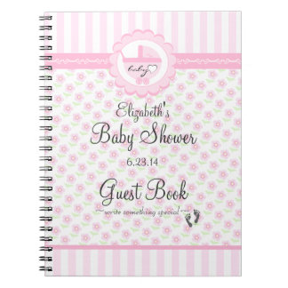 Pink Flowers and Carriage-Baby Shower Guest Book Spiral Notebook