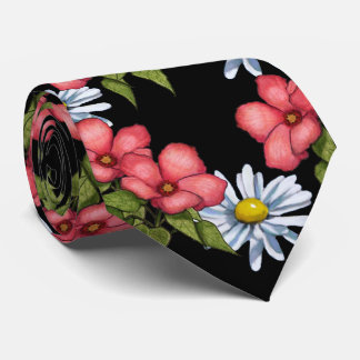 Pink Flowers and Daisies on Black, Artwork Neck Tie