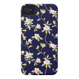 Pink Flowers and Dark Blue Case-Mate iPhone 4 Case