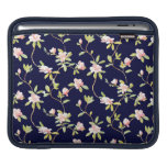 Pink Flowers and Dark Blue Sleeve For iPads