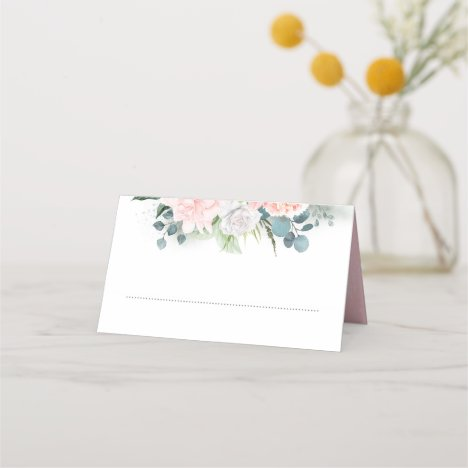 Pink Flowers and Eucalyptus Watercolor Greenery Place Card