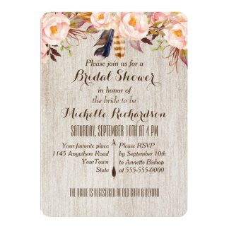 Pink Flowers and Feathers Watercolor Bridal Shower Card