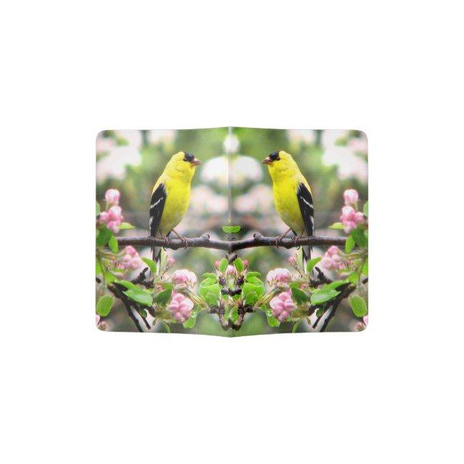 Pink Flowers and Goldfinch Birds Passport Holder