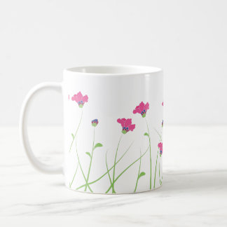 Pink flowers and grass coffee mugs