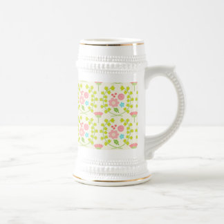 Pink flowers and green vines leaves coffee mugs