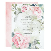 Pink Flowers and Greenery Elegant Vintage Wedding Invitation