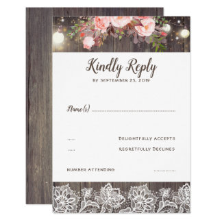 Pink Flowers and Lace Rustic RSVP Card