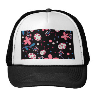 Pink flowers and ladybugs trucker hat