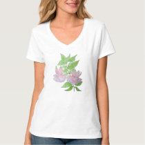 Pink flowers and leaf design original painting art T-Shirt