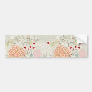 Pink flowers and little birds wallpaper bumper sticker