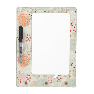 Pink flowers and little birds wallpaper dry erase board