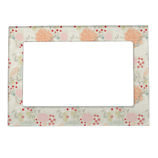 Pink flowers and little birds wallpaper magnetic frame