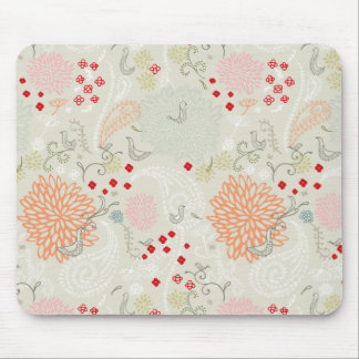 Pink flowers and little birds wallpaper mouse pad