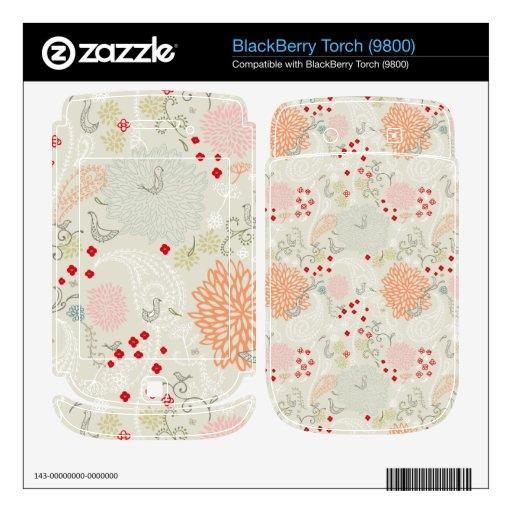 Pink flowers and little birds wallpaper BlackBerry skin