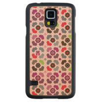 pink flowers and owls pattern carved maple galaxy s5 slim case