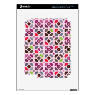 pink flowers and owls pattern decal for iPad 3
