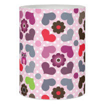 pink flowers and owls pattern flameless candle