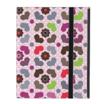 pink flowers and owls pattern iPad folio case