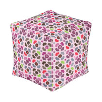 pink flowers and owls pattern pouf