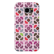 pink flowers and owls pattern samsung galaxy s6 case