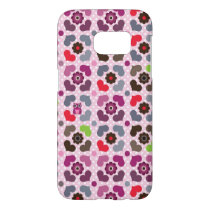 pink flowers and owls pattern samsung galaxy s7 case